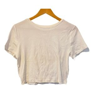 Wild Fable White Cropped T-Shirt Crew Neck XL New